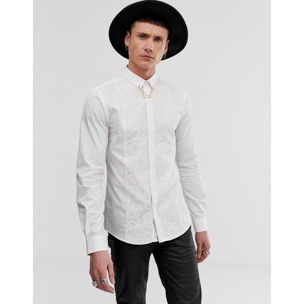 ツイステッドテイラー メンズ シャツ トップス Twisted Tailor super skinny fit shirt with lace panel in white White