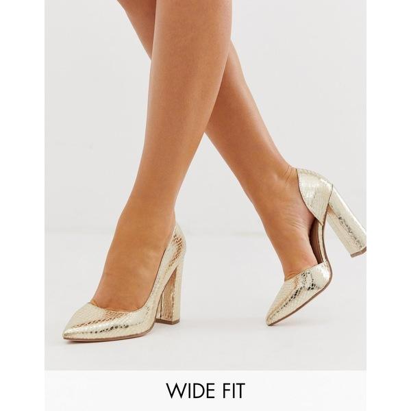 エイソス レディース ヒール シューズ ASOS DESIGN Wide Fit Walter d'orsay high heels in champagne croc Champagne croc
