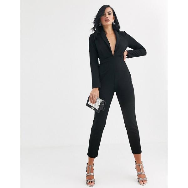 エイソス レディース ワンピース トップス ASOS DESIGN plunge tux jumpsuit with shoulder pad Black