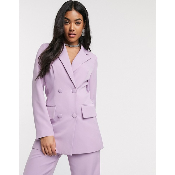 フォースレックレス レディース ジャケット&ブルゾン アウター 4th + Reckless double breasted suit blazer in lilac Lilac
