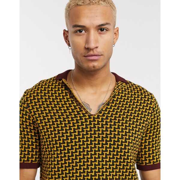 エイソス メンズ ポロシャツ トップス ASOS DESIGN muscle fit polo shirt with geo design in mustard Mustard