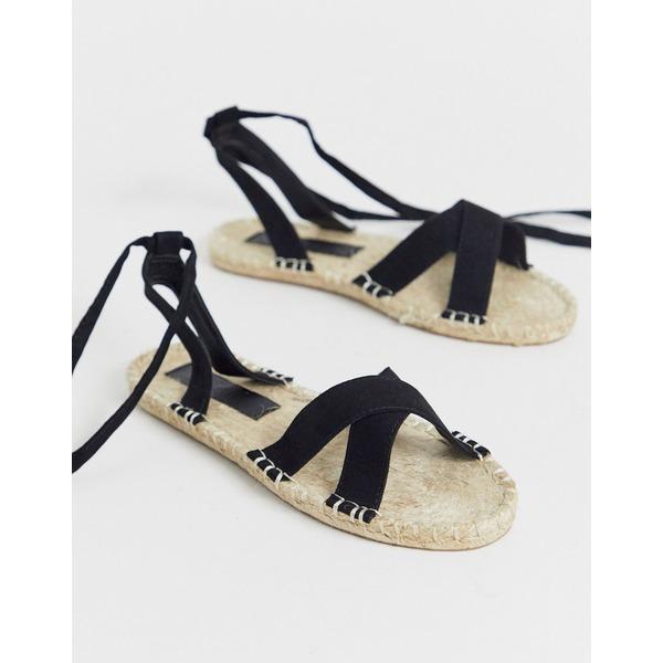 エイソス レディース サンダル シューズ ASOS DESIGN Jala espadrille flat sandals in black BlackOkTZPXui