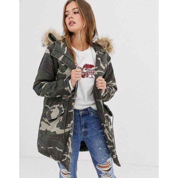 ニュールック レディース コート アウター New Look cotton parka jacket in camo 39 green pattern