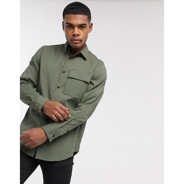 カルバンクライン メンズ シャツ トップス Calvin Klein utilty long sleeve shirt in green Green