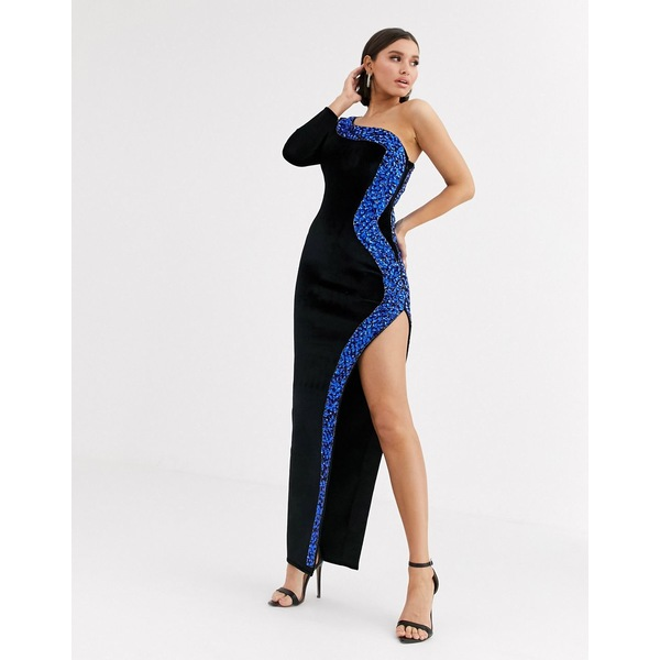 エイソス レディース ワンピース トップス ASOS DESIGN one shoulder high split bonded velvet maxi dress with embellished trim Black