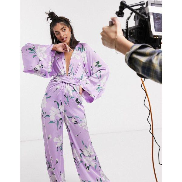 シグネチャーエイト レディース ワンピース トップス Signature 8 balloon sleeve tie front floral print jumpsuit in purple Lilac