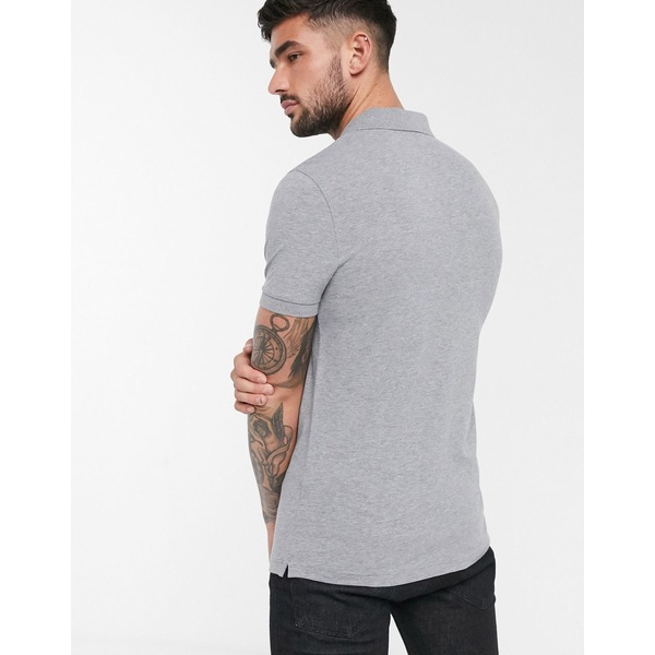 ボス メンズ ポロシャツ トップス BOSS Passenger slim fit logo polo in gray Gray