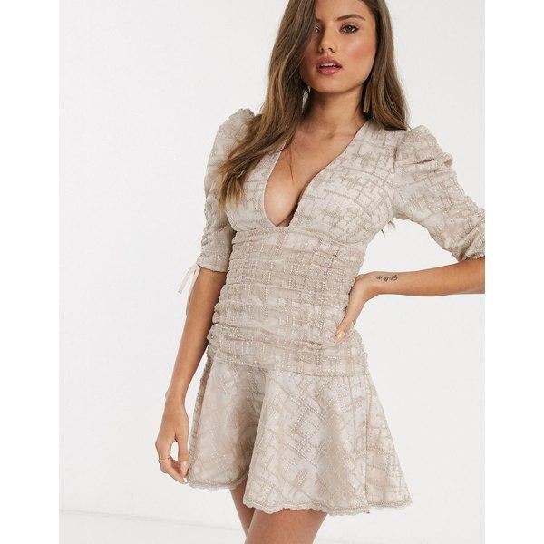 エイソス レディース ワンピース トップス ASOS DESIGN ruched mini dress with embroidered embellishment and peplum hem in stone Stone
