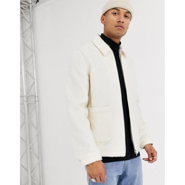エイソス メンズ ジャケット&ブルゾン アウター ASOS DESIGN faux fur harrington jacket in white White