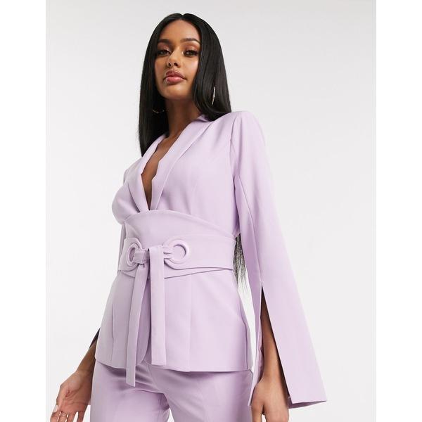 ラビッシュアリス レディース ジャケット&ブルゾン アウター Lavish Alice belted blazer in lilac Lilac