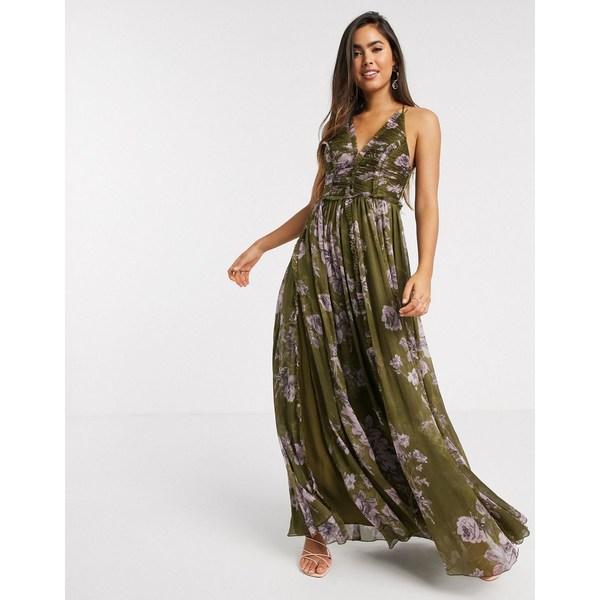 エイソス レディース ワンピース トップス ASOS DESIGN ruched bodice soft cami maxi dress with raw edge detail in khaki floral Floral print