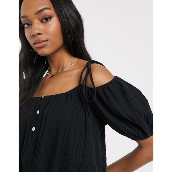 エイソス レディース カットソー トップス ASOS DESIGN cold shoulder top with puff sleeve in black BlackkTOPXiZu