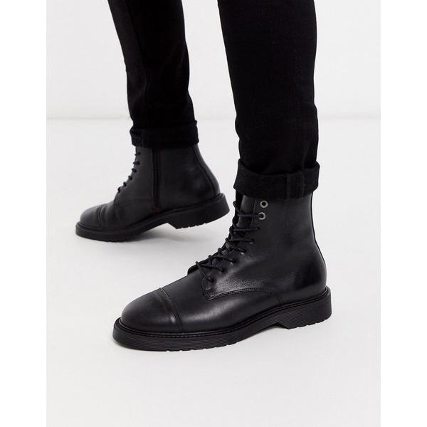 セレクテッドオム メンズ ブーツ&レインブーツ シューズ Selected Homme lace up leather hiker boots in black Black
