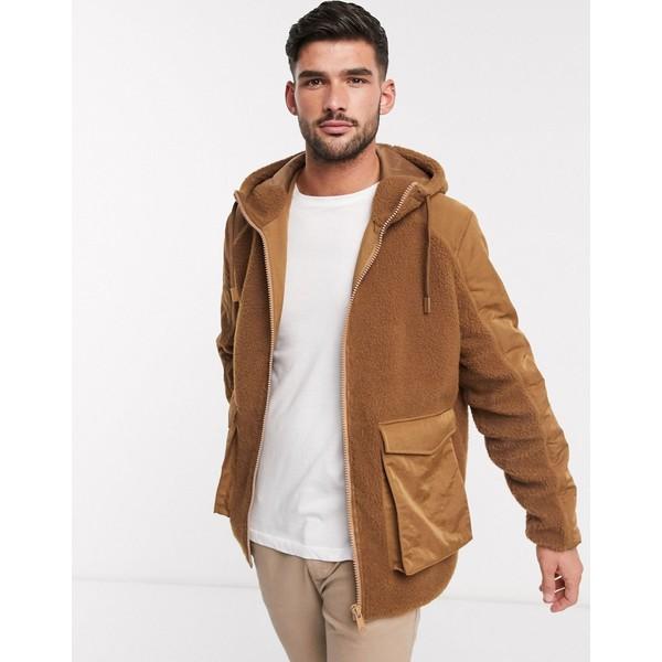 エイソス メンズ ジャケット&ブルゾン アウター ASOS DESIGN teddy zip through hooded jacket with pockets in tan Tan