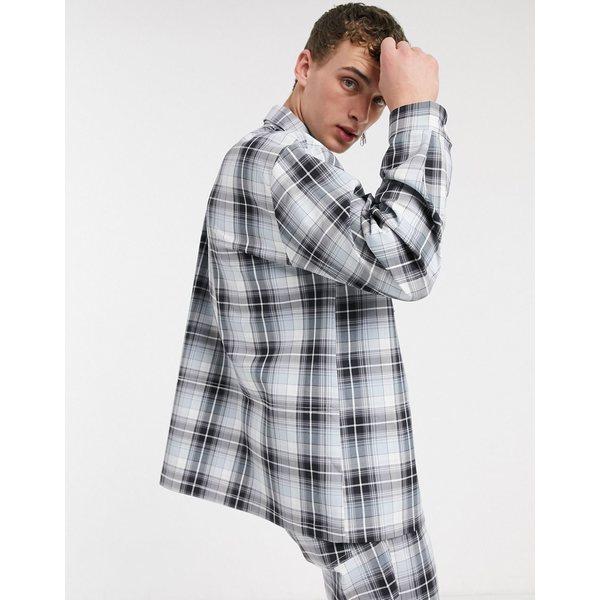 コリュージョン レディース シャツ トップス COLLUSION Unisex check shirt Gray