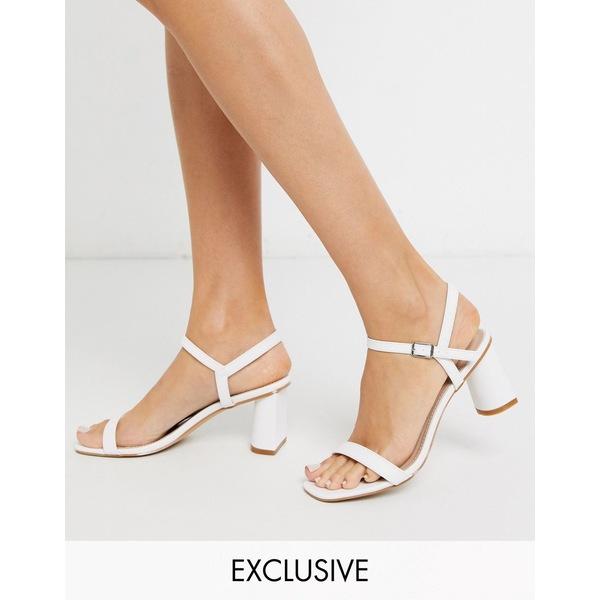 レイド レディース サンダル シューズ RAID Exclusive Judina square toe heeled sandals in white White pu