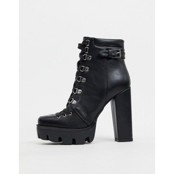 シミシューズ レディース ブーツ&レインブーツ シューズ Simmi London Jemma chunky ankle boots in black Black