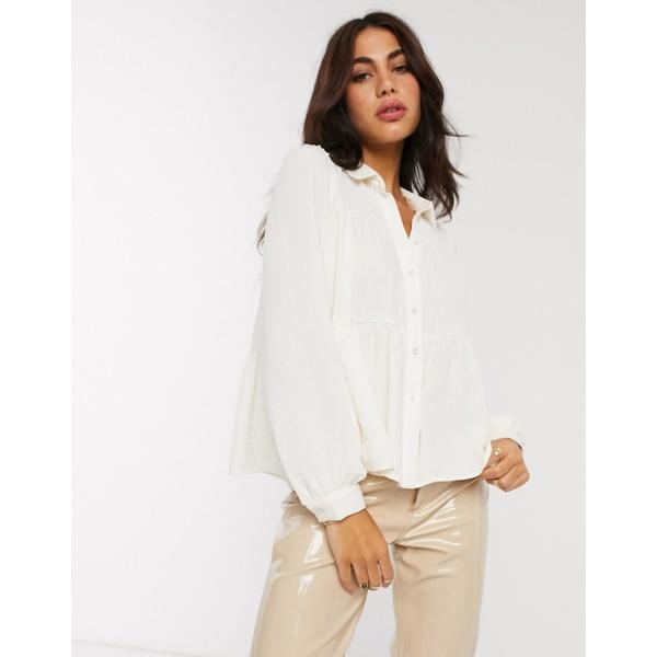 ヴェロモーダ レディース シャツ トップス Vero Moda smock shirt with tiering in white White