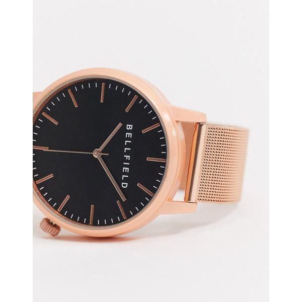 ベルフィールド メンズ 腕時計 アクセサリー Bellfield rose gold watch with black dial Gold