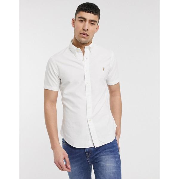 ラルフローレン メンズ シャツ トップス Polo Ralph Lauren short sleeve oxford shirt slim fit multi player logo in white exclusive to ASOS White