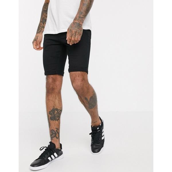 リバーアイランド メンズ カジュアルパンツ ボトムス River Island skinny denim shorts in black Black