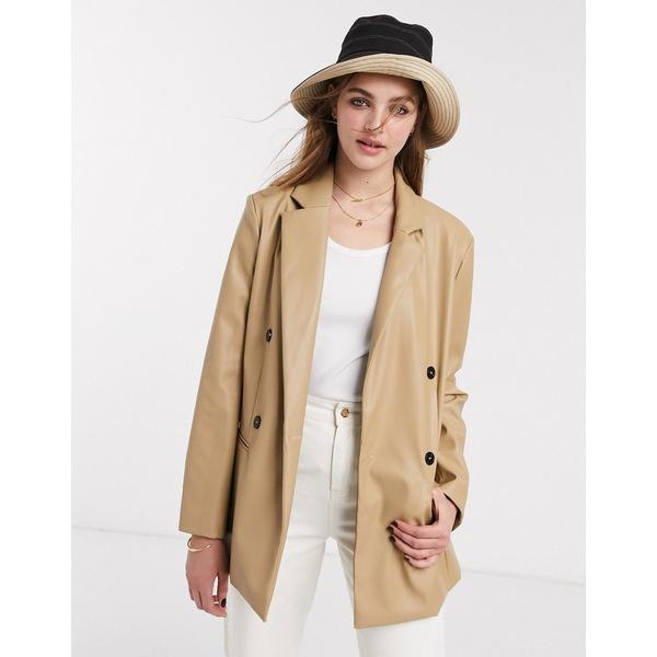 エモリーパーク レディース ジャケット&ブルゾン アウター Emory Park 90's blazer in faux leather Camel