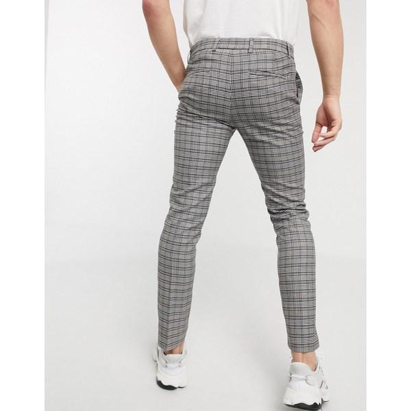 リバーアイランド メンズ カジュアルパンツ ボトムス River Island super skinny checked pants in gray Gray