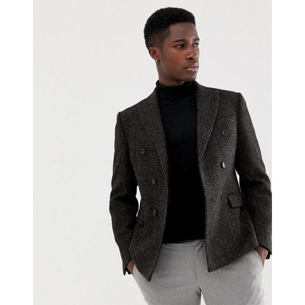 エイソス メンズ ジャケット&ブルゾン アウター ASOS DESIGN slim double breasted blazer in 100% wool Harris Tweed Brown