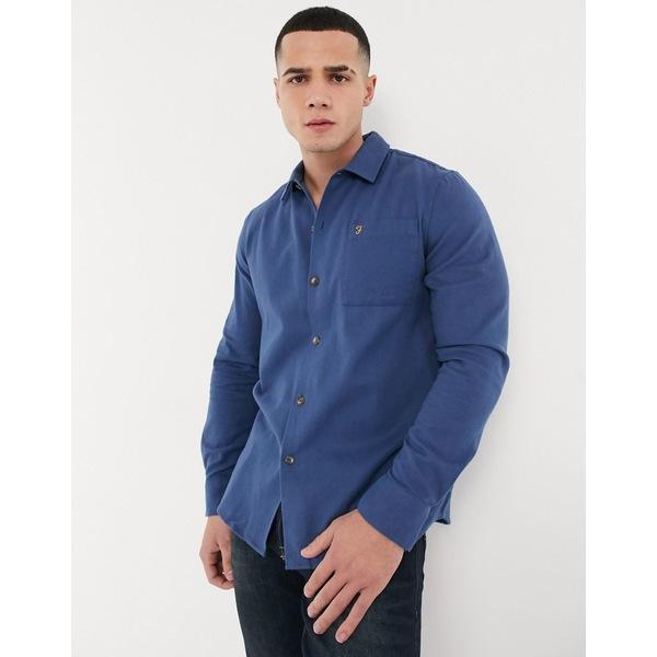 ファーラー メンズ シャツ トップス Farah Lindner long sleeve shirt Blue
