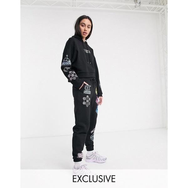 クロッケドタング レディース パーカー・スウェットシャツ アウター Crooked Tongues oversized hoodie with mixed logo print two-piece Black