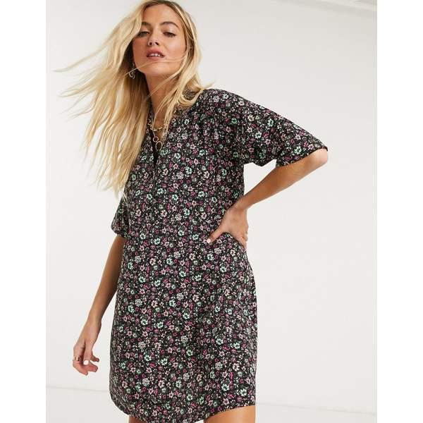 ノイジーメイ レディース ワンピース トップス Noisy May oversized shirt dress in ditsy floral print Multi