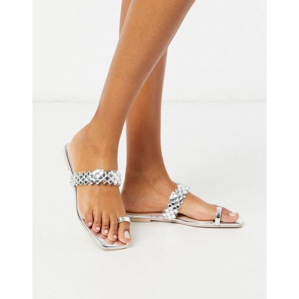 シミシューズ レディース サンダル シューズ Simmi London Regine embellished flat sandals in silver Silver