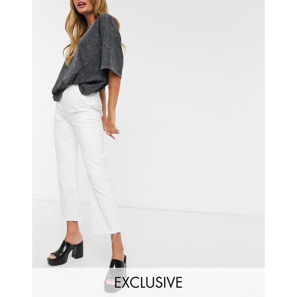 リクレイム ヴィンテージ レディース デニムパンツ ボトムス Reclaimed Vintage inspired cropped flare jean in white White