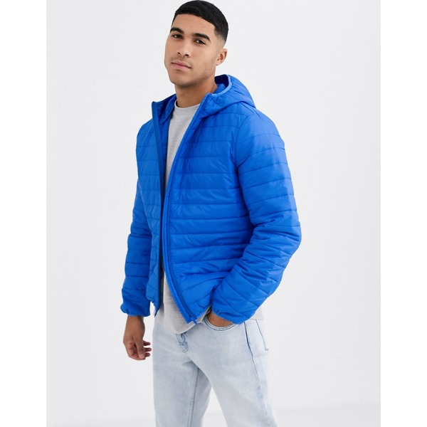 エイソス メンズ ジャケット&ブルゾン アウター ASOS DESIGN lightweight puffer jacket with hood in cobalt blue Blue