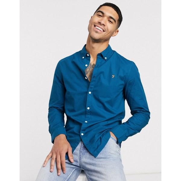ファーラー メンズ シャツ トップス Farah Farley slim long sleeve shirt Blue