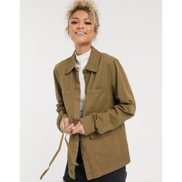 ピーシーズ レディース ジャケット&ブルゾン アウター Pieces utility jacket with tie waist in khaki Khaki
