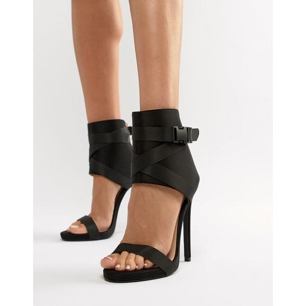 シミシューズ レディース ヒール シューズ Simmi London Jamilla black buckle detail stiletto boots Black