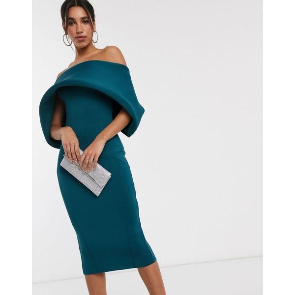 エイソス レディース ワンピース トップス ASOS DESIGN fold front bardot midi pencil dress Teal