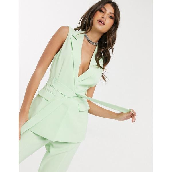 フォースレックレス レディース ジャケット&ブルゾン アウター 4th + Reckless sleeveless longline blazer in mint Green