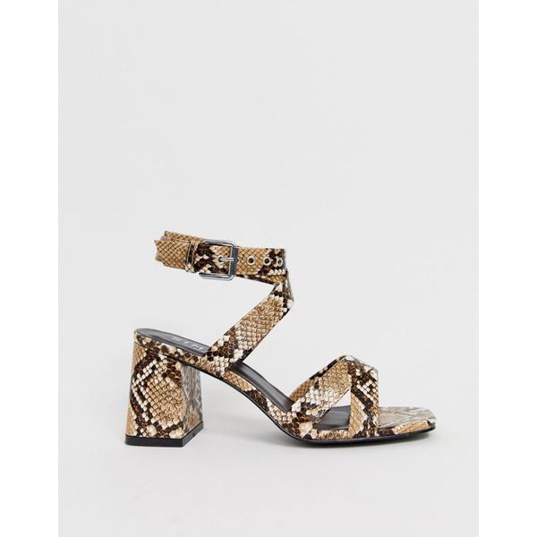 シミシューズ レディース ヒール シューズ Simmi London Kimona snake mid heeled sandals Natural snake
