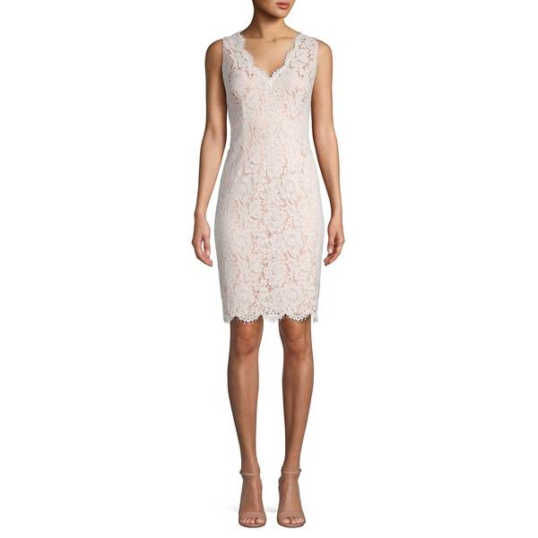 ヴィンスカムート レディース ワンピース トップス Floral Lace Sleeveless Sheath Dress Ivory