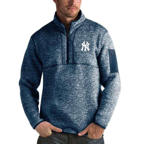アンティグア メンズ シャツ トップス New York Yankees Antigua Fortune HalfZip Sweater Heathered Navy