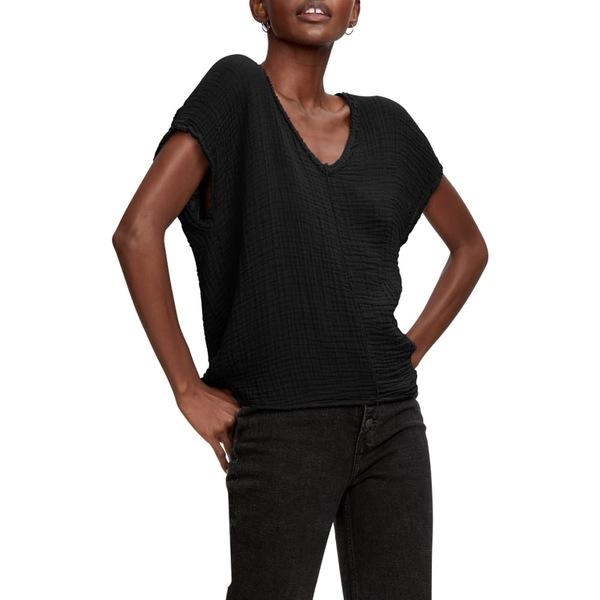 マイケルスターズ レディース Tシャツ トップス Draya V-Neck T-Shirt Black