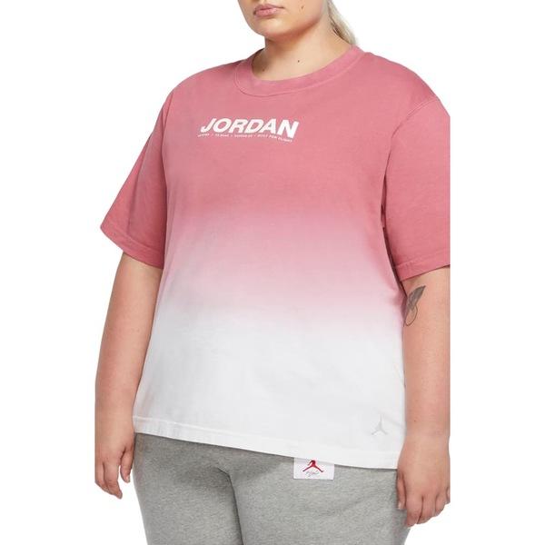 ナイキ レディース Tシャツ トップス Jordan Dip Dye Logo Graphic Tee White/ Desert Berry