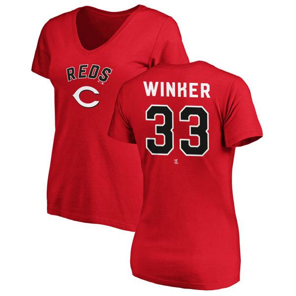 ファナティクス レディース Tシャツ トップス Cincinnati Reds Fanatics Branded Women's Personalized Winning Streak Name & Number Slim Fit VNeck TShirt Red