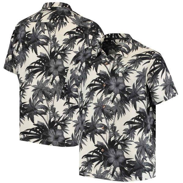 トッミーバハマ メンズ シャツ トップス Philadelphia Eagles Tommy Bahama Sport Harbor Island Hibiscus Camp ButtonDown Shirt Black