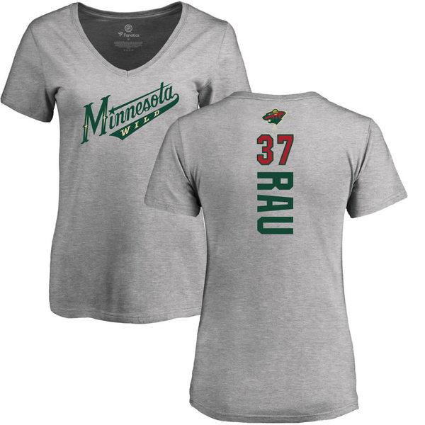 ファナティクス レディース Tシャツ トップス Minnesota Wild Fanatics Branded Women's Personalized Playmaker Slim Fit VNeck TShirt Heather Gray