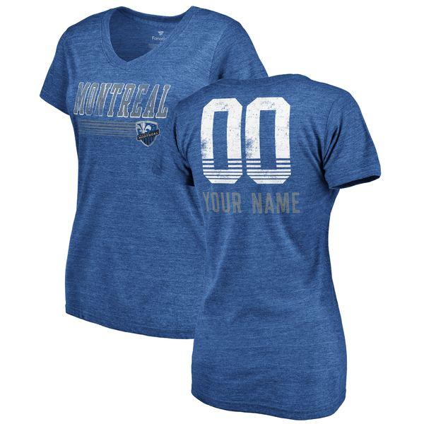 ファナティクス レディース Tシャツ トップス Montreal Impact Fanatics Branded Women's Fast Pass TriBlend Personalized VNeck TShirt Heather Royal