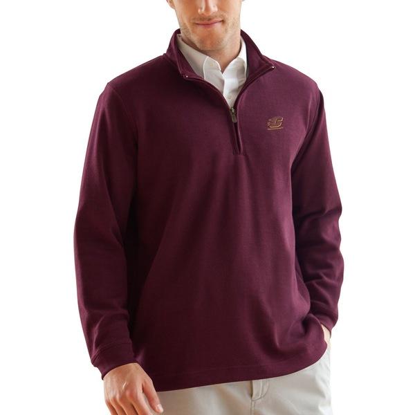 ビンテージアパレル メンズ ジャケット&ブルゾン アウター Cent. Michigan Chippewas FlatBack Rib 1/4Zip Pullover Sweater Maroon