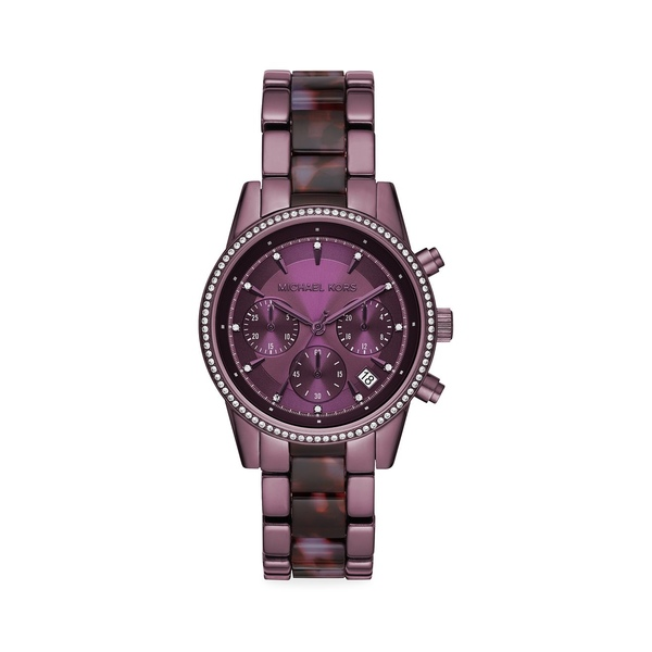 マイケルコース レディース 腕時計 アクセサリー Ritz Pavé Purple Stainless Steel Bracelet Chronograph Watch Purple